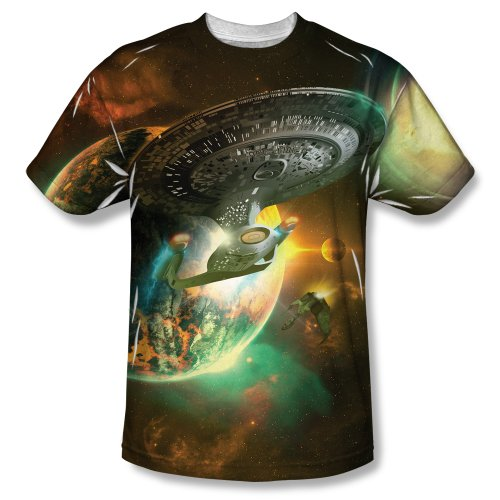 Star Trek Enterprise D Battle Single Side Sublimation Print Adult T-shirt (Large)