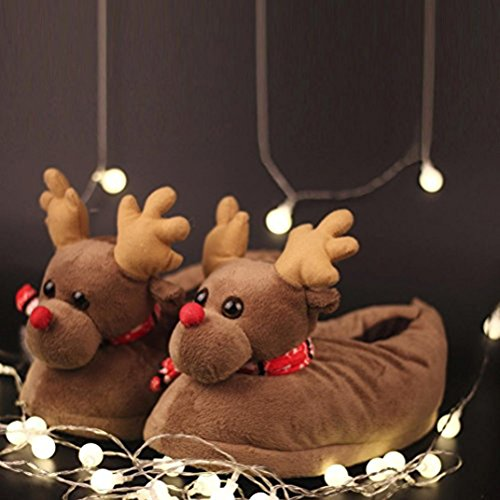 Booties Printed Christmas Shoes Elk Brown beginning Slip on Auspicious Warm Indoor Warm Plush Flat Slippers Cotton Comfortable twSqXCB