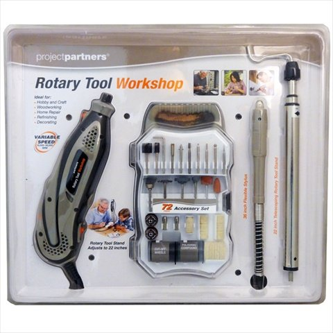 Project Parners Rotary Tool Workshop with Tool Stand & 72 pc