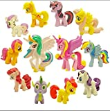 Top Valu 12pcs (1 Dozen) My Little Pony Cupcake Cake Loaf Bread Cookie Topper PVC Figures Kids Girl Toy Dolls Decoration Birthday Function Party Icing Cake Home Dining Kitchen Table Decoration