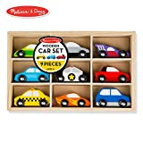 Melissa & Doug Wooden Cars Vehicle Set in Wooden Tray (9 Vehicle Toys)