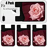Liili Phone Card holder sleeve/wallet for iPhone Samsung Android and all smartphones with removable microfiber screen cleaner Silicone card Caddy(4 Pack) IMAGE ID: 6822820 Pink Rose on Silk