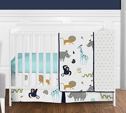 Lime 4 Piece Crib - Turquoise and Navy Blue Safari Animal Mod Jungle Baby Boy or Girl Crib Bedding Set without Bumper by Sweet Jojo Designs - 4 pieces