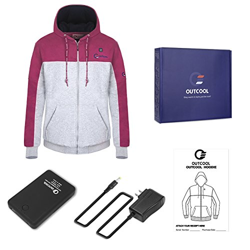 OUTCOOL Women's Cordless Heated Hoodie Kit Color Matching Design Full-Zip Hooded Fleece Sweatshirt(M) by OUTCOOL (Image #6)