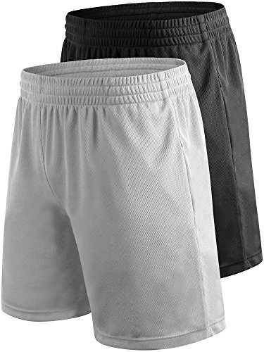 Cadmus Men's Workout Running Mesh Shorts With porket,2 Pack,2001,Black & Grey,X-Large (Cotton Rugby Mesh)