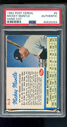 1962 Post Cereal #5 Mickey Mantle Yankees PSA AUTH Graded Baseball Card MLB from Post Cereal
