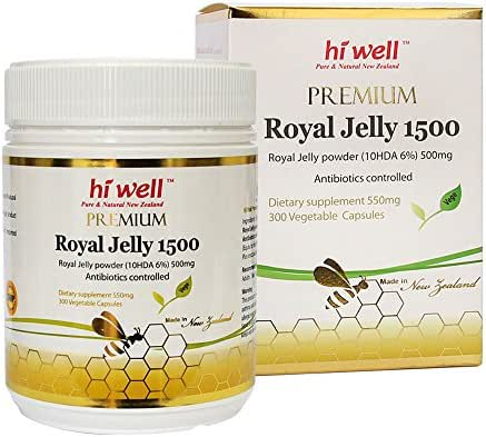 Hi Well Premium New Zealand Bee Royal Jelly 1500mg 10hda 6% 300 Vegetable Capsules Immune Support Vitamins & Minerals