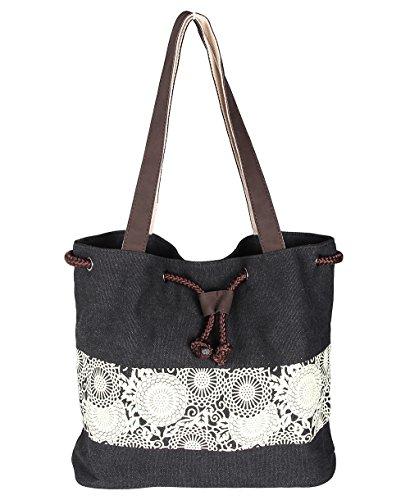 SQLP Damen Tasche Canvas Schultertasche Umhängetasche Handtasche (Grau) Schwarz JoCSdCgI