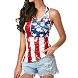 Oksale® Women Summer Fashion Sleeveless American Flag Blouse Top T Shirt Tee Shirt (Red, S) For Sale