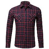 NUWFOR Men's Casual Fashion Long Sleeved Shirt Double Pocket Plaid Printing Shirt Tops