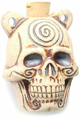 Shipwreck Beads Peruvian Hand Crafted Ceramic High Fire Skull Pendant with Spiral Bottle, -