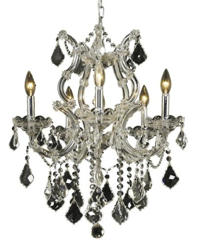 (Elegant Lighting Theresa Collection 6-Light Hanging Fixture Royal Cut Crystal with Chrome Finish )