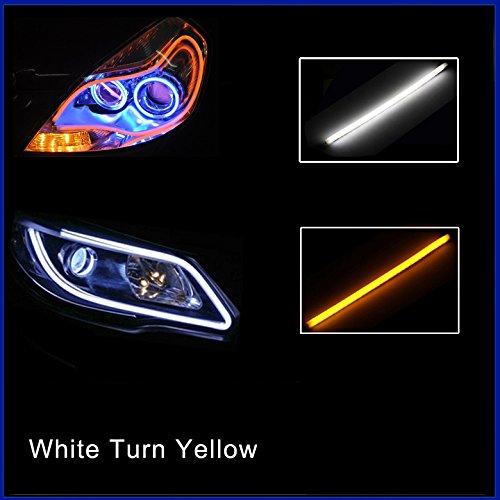 Folconroad 2 x 60 cm Coche Tubo Flexible LED Tira Diurna Luces DRL Faros Delanteros Blanco Girar Amarillo