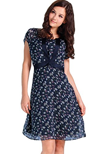 Sweet Mommy Maternity and Nursing Floral Print Chiffon Dress NavyNavy, L Sweet Petite Liner