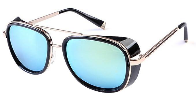 BOZEVON Gafas de sol Reflejadas de Steampunk de las Gafas del Vintage Unisex para las Mujeres