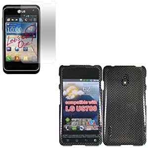 iFase Brand LG 4G LTE US780 Combo Carbon Fiber Protective Case Faceplate Cover + LCD Screen Protector for LG 4G LTE US780
