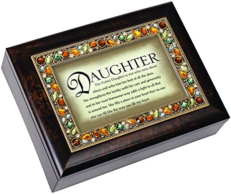 Plays What a Wonderful World Cottage Garden Perfect Daughter Italian Style Burlwood Finish Decorative Jewel Lid Musical Jewelry Box