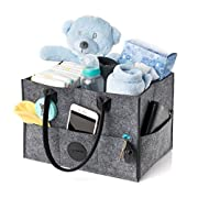 Stylish Baby Diaper Caddy Organizer | Nursery Storage Bin for Diapers, Wipes & Toys | Portable Car Storage Basket | Changing Table Organizer | Great Baby Shower Gift