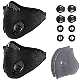 Unigear Dust Mask with 2 Activated Carbon Filters- N95 Respiratory Protection for Anti Pollution, Exhaust Gas, Pollen Allergy, PM2.5, Woodworking,Running, Cycling and Survival (Black 2 Packs)
