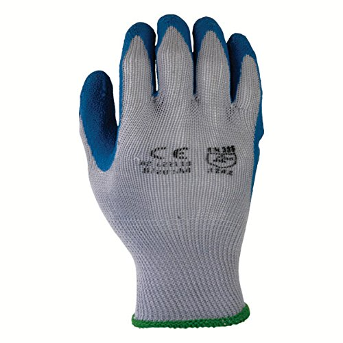 Azusa Safety L22115 10 gauge Knit Polyester/Cotton Work Safety Gloves, Latex Coated Textured Crinkle Finish Large 9'', Blue/Gray (Pack of 120 Pairs)