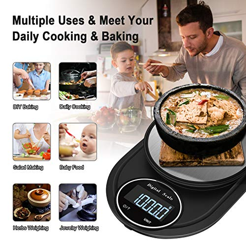 Food Scale, WISREMT 5000g/0.1g Multifunction High Precision Digital Kitchen Scale, 7 Units Adjustable Stainless Steel Gram Scale with HD LCD Display for Baking, Cooking (Batteries Included)