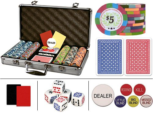 Casino Da Vinci Authentic All Clay Casino Quality Poker Chip Set w/ 300 Chips, 6 Dealer Buttons, 2 Cut Cards