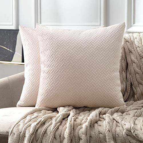 MIULEE Pack of 2 Embroidery Velvet Throw Pillow Cover Decorative Pattern Cushion Cover Soft Pink Pillow Case Shell for Car Sofa Bedroom 18x18 Inch 45x45 cm
