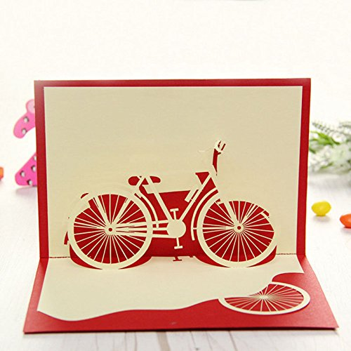 Stebcece Bicycle Travel 3D Pop Up Card Happy Birthday Valentine Easter Anniversary Gift ()