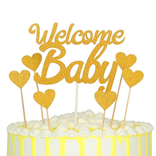 palasasa Welcome Baby and Love Star Gold Glitter Cake Topper ,Baby Shower Birthday Party Decoration