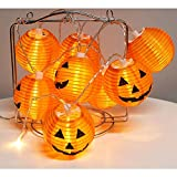ZMHEG WmBetter Pumpkin String Lights Detachable Polyester Halloween Pumpkin Lanterns with 10 LED Lights for Halloween