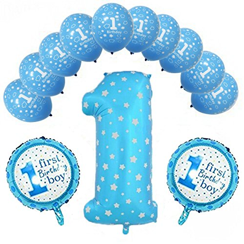 First Baby Boy Happy Birthday Party Sky Blue Color Balloons with One 36