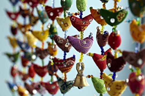 Floral Cotton Stuffed Small Birds in Vibrant Design Stringed with Beads Brass Bell Door Hanging Assorted Set of 2 Pcs by Super India