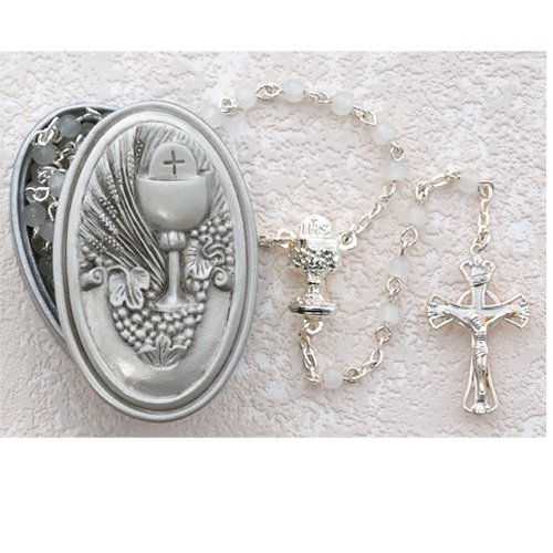 Religious Girls Gift 5MM White Glass Bead Pewter 17 Inch Rosary with Oval Chalice Communion Keepsake Box ()