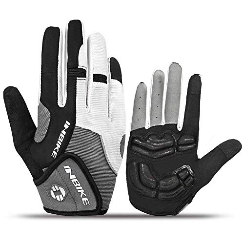 Fingered Cycling Glove - INBIKE Men's Cycling Gloves, Full Finger Gel Padded Mountain Bike Grey Medium