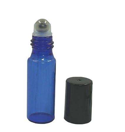 10 piezas 5 ml Botellas de rodillo de cristal rellenable de cristal azul vacío fragancia Aromaterapia