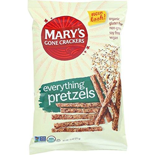 Marys Gone Crackers Pretzels - Organic - Everything - 7.5 oz - case of 12 - 95%+ Organic - Gluten Free - Wheat Free - Vegan