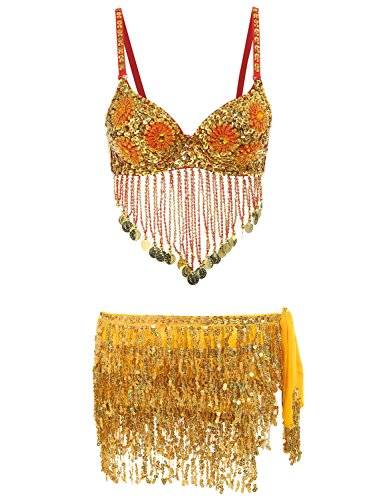 Belly Dancing Outfits - Glamaker Women's 2 Pieces Rhinestone Belly