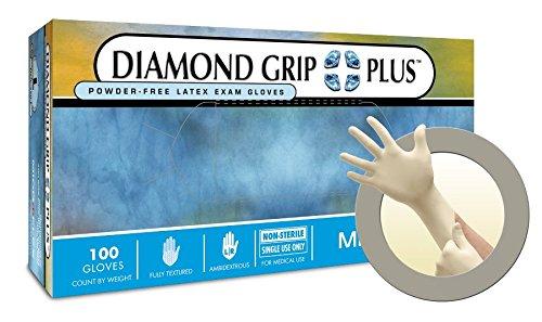 DIAMOND GRIP PLUS Powder-Free Examination Gloves M by Microflex