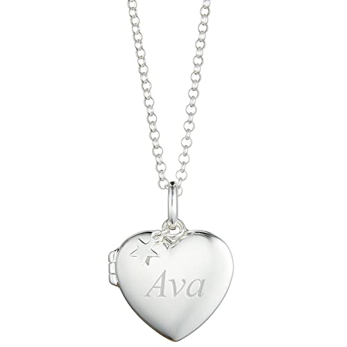 Sterling Silver Locket on Chain with Free Engraving Birthday Christening