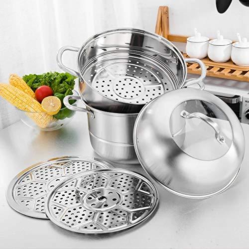 Amazon.com: Beeiee - Olla de cocina de 3 niveles y capa de ...