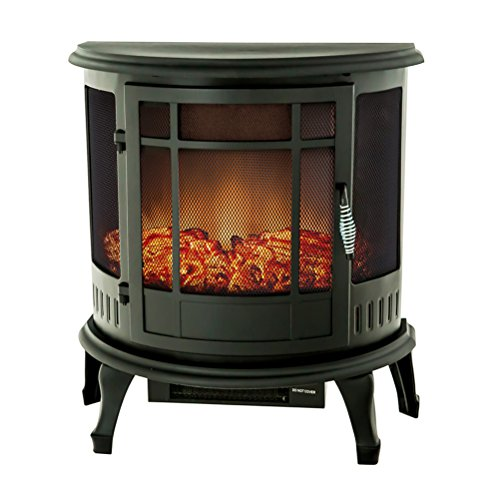 FLAMEandSHADE Electric Fireplace Stove Heater, Portable Fireplace Space Heater with Remote Therm ...
