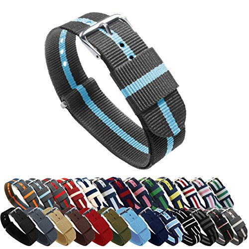 BARTON Watch Bands - Choice of Color, Length & Width (18mm, 20mm, 22mm or 24mm) - Smoke/Sky 24mm - 'Long' Version