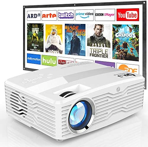 [Full HD Native 1080P Projector with 100Inch Projector Screen] 7000Lumens LCD Projector Full HD Projector Max 300″ Display, Compatible with TV Stick, HDMI, AV VGA, PS4, Smartphone for Outdoor Movies