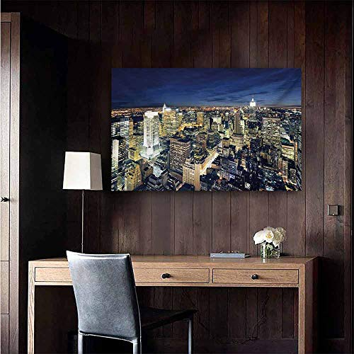 duommhome Urban Art Oil Paintings Modern Cityscape After Sunset Manhattan New York USA Architectural View Canvas Prints for Home Decorations 24