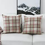 HOME BRILLIANT Checkered Plaid Decorative Pillow Cover Classic Country Rustic Decoration Cotton Linen Cushion Covers, Set of 2, 18x18 inch, Rose Mixed