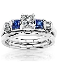 blue sapphire diamond wedding rings set 34 carat ctw in 14k white gold - Sapphire And Diamond Wedding Rings