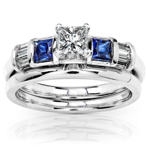 Kobelli Blue Sapphire & Diamond Wedding Rings Set 3/4 Car...