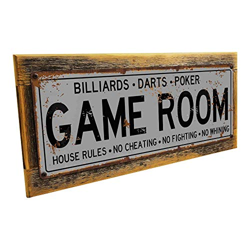 Cheap Game Room House Rules Metal Street Sign, Billiards, Poker, Darts, Gaming, Mancave, Den, Wall Decor