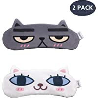 [2 PACK] MicroBird Cat&Dog Cute Sleep Eye Mask with gel pad, Hot & Cold Therapy for Insomnia Puffy Eyes, Super Soft and Light, for Sleeping, Shift Work,Blindfold Eyeshade for Men and Women kid (Cat&Dog)