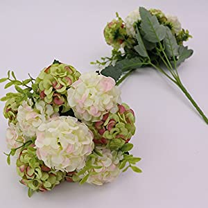 FYYDNZA Artificial 10 Head Hydrangea Simulation Flower Start Wedding Decoration Party Flowers Crown Bridal Bouquet Silk,6,Length 42Cm 97